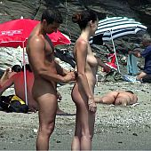 Totally stripped cuties sunbathing naked.